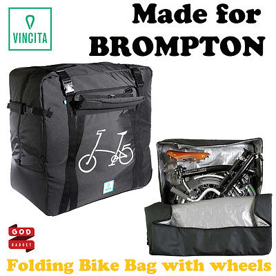 Brompton Folding Bike Transport Bag with wheels Bicycle hand carry BEST VINCITA
