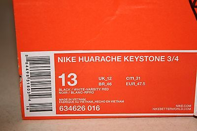 Nike Huarache Keystone 3/4 Mens Red/White/Black Size 13 Baseball Cleats NEW!
