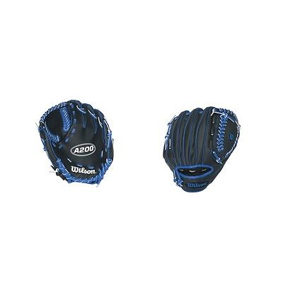 "Wilson WTA0200TBBOY A200 Boys Tee Ball Glove 10"" Black/Royal Blue"